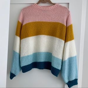 Topshop Colorblock Knit Pullover Sweater